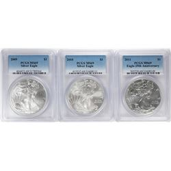 Lot of 2009-2011 $1 American Silver Eagle Coins PCGS MS69