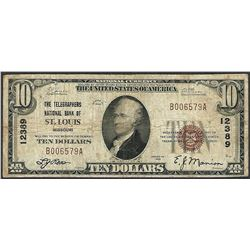 1929 $10 Telegraphers NB of St. Louis, MO CH# 12389 National Currency Note