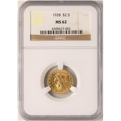 1928 $2 1/2 Indian Head Quarter Eagle Gold Coin NGC MS62
