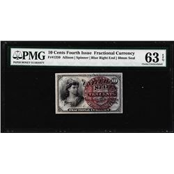 1863 Ten Cents Fourth Issue Fractional Note Fr.1259 PMG Choice Uncirculated 63EPQ