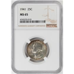 1941 Washington Quarter Coin NGC MS65