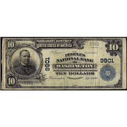 1902PB $10 Peoples NB of Washington, PA CH# 9901 National Currency Note