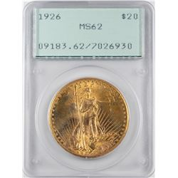 1926 $20 St. Gaudens Double Eagle Gold Coin PCGS MS62 Green Rattler Holder