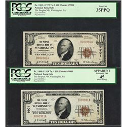 (2) Consec. 1929 $10 Washington, PA CH# 9901 National Currency Notes PCGS VF35PPQ/45