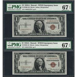 (2) Consec. 1935A $1 Hawaii Emergency Silver Certificate Notes PMG Superb Gem Unc 67EPQ