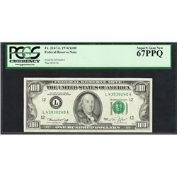 Finest Known 1974 $100 Federal Reserve Note Fr.2167-L PCGS Superb Gem New 67PPQ