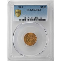1905 $2 1/2 Liberty Head Quarter Eagle Gold Coin PCGS MS63