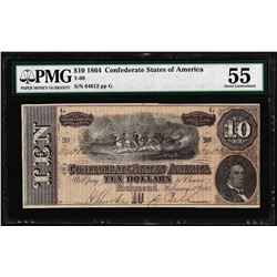 1864 $10 Confederate States of America Note T-68 PMG About Uncirculated 55