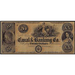 1800's $20 Canal & Banking Co. New Orleans, LA Obsolete Banknote