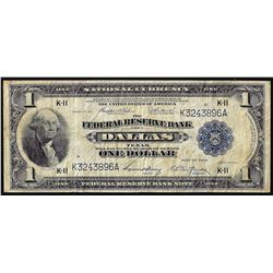 1918 $1 Federal Reserve Bank Note Dallas