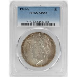 1927-S $1 Peace Silver Dollar Coin PCGS MS63