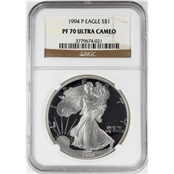 1994-P $1 Proof American Silver Eagle Coin NGC PF70 Ultra Cameo