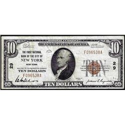 1929 $10 First NB of New York, NY CH# 29 National Currency Note