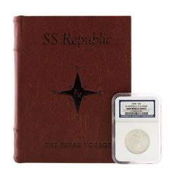 1858 8 in Rock SS Republic Seated Liberty Half Dollar Coin NGC Shipwreck Effect w/Book