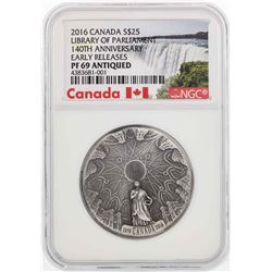 2016 Canada $25 Library of Parliament Commemorative Coin NGC PF69 Antiqued