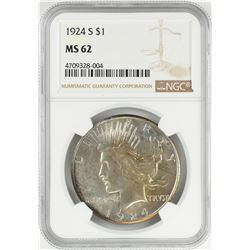 1924-S $1 Peace Silver Dollar Coin NGC MS62