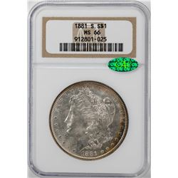 1881-S $1 Morgan Silver Dollar Coin NGC MS66 CAC