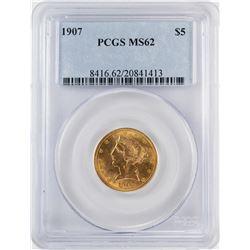 1907 $5 Liberty Head Half Eagle Gold Coin PCGS MS62