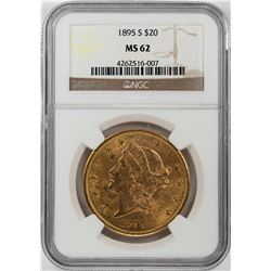1895-S $20 Liberty Head Double Eagle Gold Coin NGC MS62