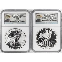 2013-W $1 West Point Proof Silver Eagle Coin Set NGC PF70/SP70 First Releases