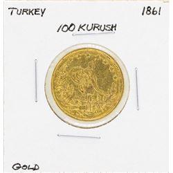 1861 Turkey 100 Kurush Gold Coin