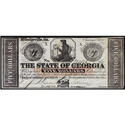 1862 $5 State of Georgia Milledgeville, GA Obsolete Banknote