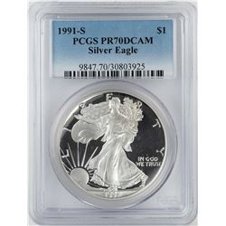 1991-S $1 Proof American Silver Eagle Coin PCGS PR70DCAM