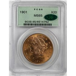 1901 $20 Liberty Head Double Eagle Gold Coin PCGS MS65 CAC