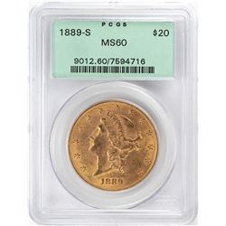1889-S $20 Liberty Head Double Eagle Gold Coin PCGS MS60 OGH
