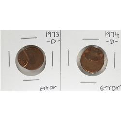 1973-D & 1974-D Lincoln Cent with Off Center Strike Error Coins