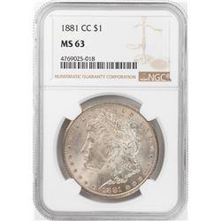 1881-CC $1 Morgan Silver Dollar Coin NGC MS63