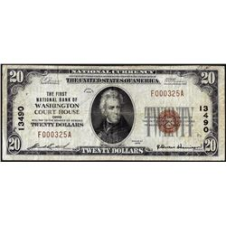1929 $20 First NB of Washington Court House, Ohio CH# 13490 National Currency Note