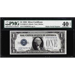 Radar Serial Number 1928 $1 Funnyback Silver Certificate Note PMG Extremely Fine 40EPQ