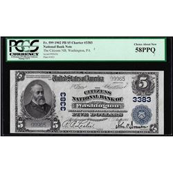 1902PB $5 Citizens NB of Washington, PA CH# 3383 National Currency Note PCGS AU58PPQ