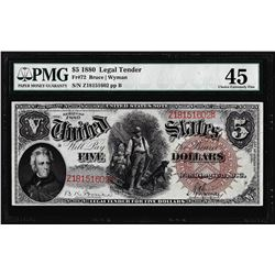 1880 $5 Woodchopper Legal Tender Note Fr.72 PMG Choice Extremely Fine 45