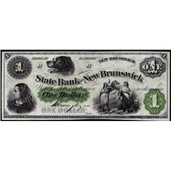 1800's $1 State Bank at New Brunswick, NJ Obsolete Note
