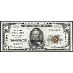 1929 $50 Second National Bank Danville, IL CH# 2584 National Currency Note