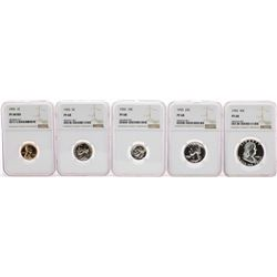 1955 (5) Coin Proof Set Graded NGC PF68