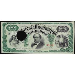 1870 $5 Jackson, State of Mississippi Obsolete Note