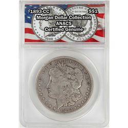1893-CC $1 Morgan Silver Dollar Coin ANACS Certified Genuine
