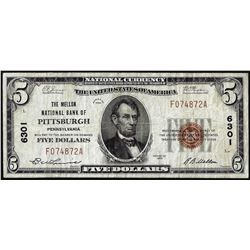 1929 $5 Mellon NB of Pittsburgh, Pennsylvania CH# 6301 National Currency Note