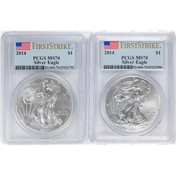 Lot of (2) 2014 $1 American Silver Eagle Coins PCGS MS70 First Strike