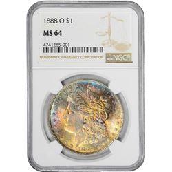 1888-O $1 Morgan Silver Dollar Coin NGC MS64 Amazing Toning