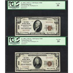 1929 $10/20 Citizens NB Washington, PA CH# 3383 National Currency Notes PCGS VF35