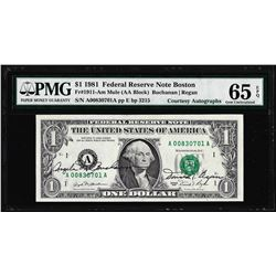 1981 $1 Federal Reserve Note PMG Gem Uncirculated 65EPQ Dual Courtesy Autographs