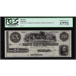 1800's $20 Bank of New England Goodspeeds Obsolete Note PCGS Superb Gem New 67PPQ