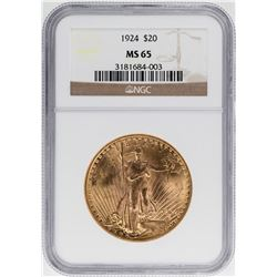 1924 $20 St. Gaudens Double Eagle Gold Coin NGC MS65