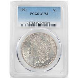 1901 $1 Morgan Silver Dollar Coin PCGS AU58