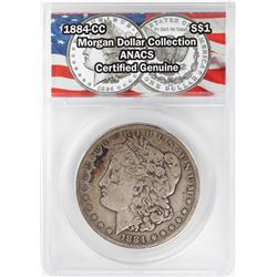 1884-CC $1 Morgan Silver Dollar Coin ANACS Certified Genuine