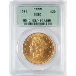 1904 $20 Liberty Head Double Eagle Gold Coin PCGS MS63 Old Green Holder